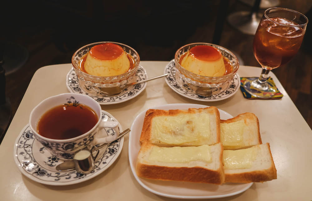 虎之門老式咖啡館「ヘッケルン」布丁套餐&起士烤土司