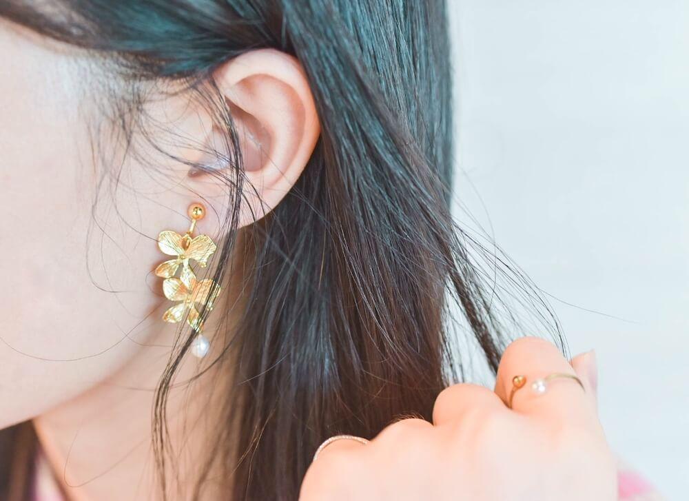 日和選物・Emmptyforest 放空森林|療癒清新春夏飾品,18K包金花耳環